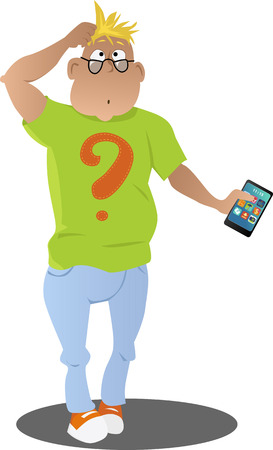 telephone cartoon: Confused cartoon man with a smart-phone in his hand, EPS 8 vector illustration, no transparencies