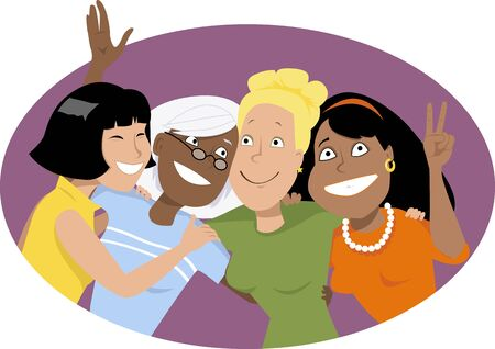Four smiling women of different ethnicities hugging and waving, EPS 8 vector illustration, no transparencies Vettoriali