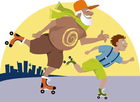 Ltere Menschen Eislaufen mit seinem Enkel, Stadtlandschaft im Hintergrund, EPS 8 Vektor-Illustration Standard-Bild - 49354519