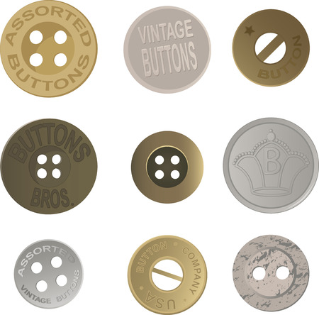 Set of realistic vintage metal buttons, EPS 8 vector illustration, isolated on white