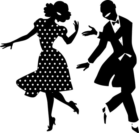 happy couple: Black vector silhouette of a dancing couple in vintage apparel, no white objects, EPS 8 Illustration