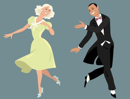 Classy paar in formele retro kleding dansen Broadway stijl, EPS 8 vector illustratie, geen transparanten