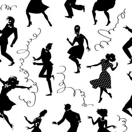 gente bailando: Patrón transparente con siluetas negras de personas bailando en estilo retro, no hay objetos blancos, EPS 8 Vectores