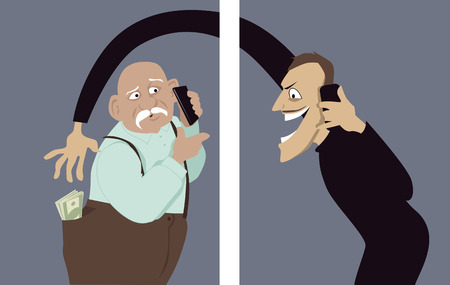 scam: Scammer talks on a phone with a senior man and trying to steal money out of his pocket, vector illustration, no transparencies, EPS 8