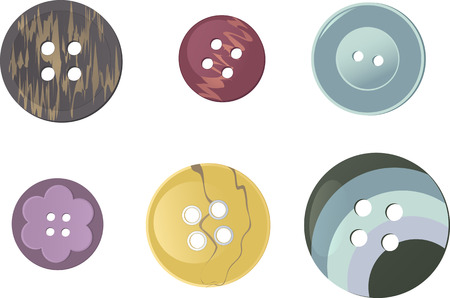 sewing supplies: Set of realistic plastic buttons, EPS 8 vector illustration, no transparencies, no mesh