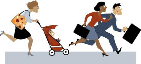 Agotada la mujer con un bebé en un cochecito y una bolsa de pañales tratando de ponerse al día con sus compañeros de trabajo, EPS 8 ilustración vectorial