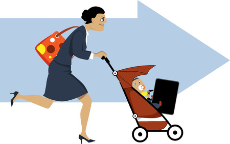 maternity leave: Businesswoman with a diaper bag running and pushing a stroller, baby holding her briefcase, an arrow in the background, EPS 8 vector illustration, no transparencies