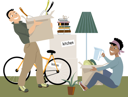 belongings: Young couple moving into a new place, unpacking their belongings, EPS 8 vector illustration, no transparencies Illustration