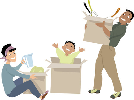Young family moving into a new place, unpacking their belongings, EPS 8 vector illustration, no transparencies 일러스트