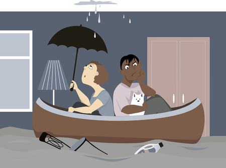 flood: Upset couple with a dog sitting in a canoe in their flooded living room, under a leaking ceiling, EPS 8 vector illustration, no transparencies