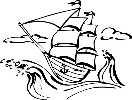 adventure story: Ink drawing of a sailing ship, vector illustration, EPS 8, black outline, no white objects