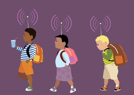 Małe dzieci maszerujących do szkoły w tłumaczeniu anteny na ich czele jako metafora cyfrowej kontroli rodzicielskiej, EPS 8 ilustracji wektorowych, bez folii Ilustracje wektorowe