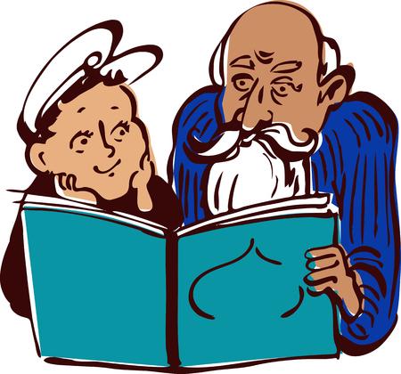Alter Mann, ein Buch zu einem Jungen, Vektor-Illustration im Stil von Vintage Bücher Lithographie zu lesen, EPS 8 Standard-Bild - 50268962