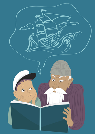 Old man reading a book to a little boy, a sailing ship in a bubble above their heads, EPS 8 vector illustration