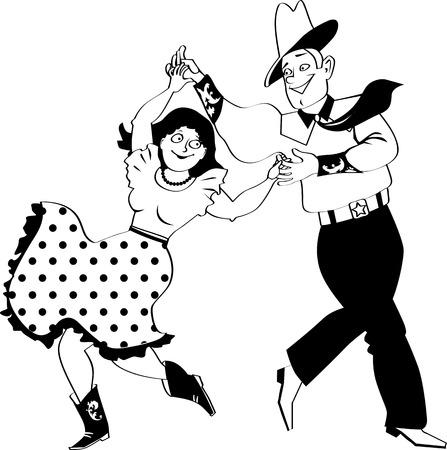 몇 가지 전통적인 댄스 또는 모순, EPS 8 벡터 일러스트 레이 션, 아니 흰색 개체를 춤 전통적인 서쪽 의상을 입고