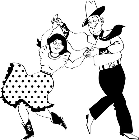 A couple dressed in traditional western costumes dancing square dance or contradance, EPS 8 vector line illustration, no white objects