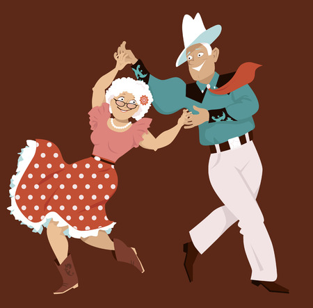 Mature couple dressed in traditional western costumes dancing square dance or contradance, EPS 8 vector illustration, no transparencies
