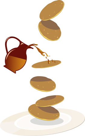 fast food: Pancakes falling on a plate, syrup splashing on them from a little pitcher, EPS 8 vector illustration, no transparencies Vectores