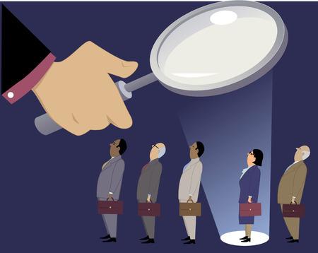 Empresaria de pie en una línea con compañeros de trabajo masculinos bajo una lupa, en un centro de atención, ilustración vectorial EPS 8, sin transparencias