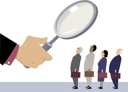 Gli uomini d'affari in fila sotto una lente di ingrandimento, come metafora per la valutazione delle prestazioni dei dipendenti, EPS 8 illustrazione vettoriale, non lucidi