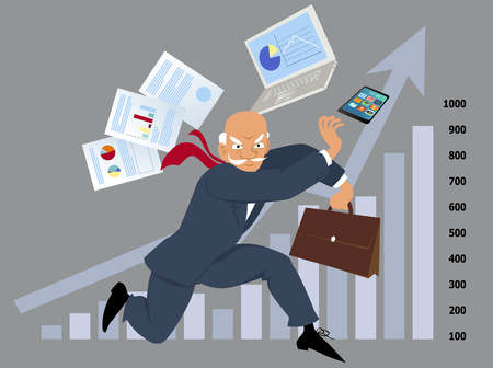 Senior businessman in a kung fu stance, assorted office items and a business graph on the background, EPS 8 vector illustration Illustration
