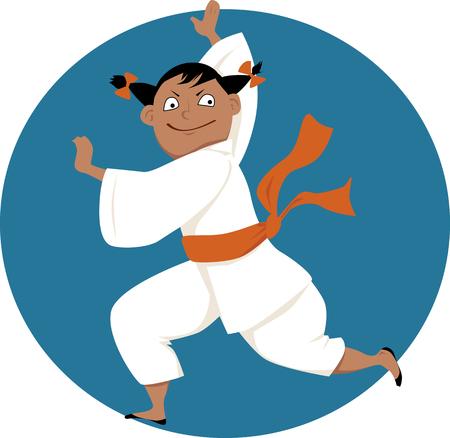 vector student: Little cartoon girl doing martial arts, EPS 8 vector illustration, no transparencies