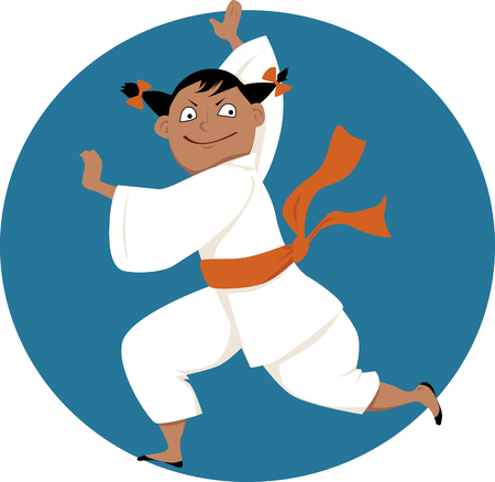 Little cartoon girl doing martial arts, EPS 8 vector illustration, no transparencies