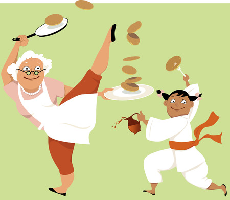 girl: Grandmother and little girl in a kung fu stance eating pancakes, EPS 8 vector illustration