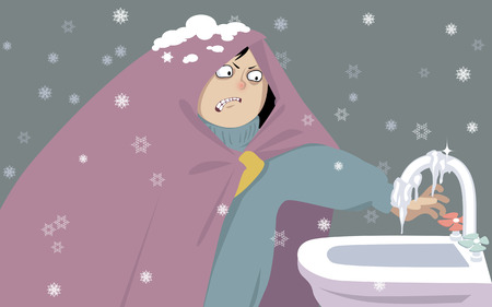 Young woman, wrapped in a blanket trying to turn on water from a frozen tap