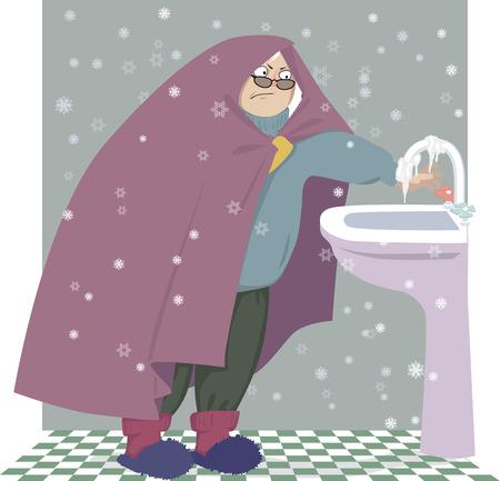 Ältere Frau, eingewickelt in eine Decke, die versucht, das Wasser einzuschalten, aber der Wasserhahn ist gefroren