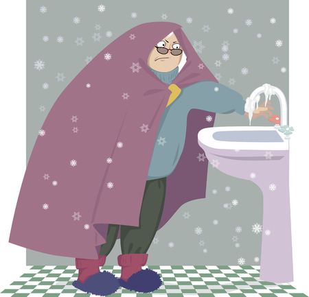 Elderly woman, wrapped in a blanket attempting to turn the water on, but the faucet is frozen