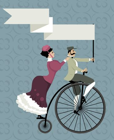 Victorian age couple riding a penny-farthing bicycle, holding an empty banner over their heads  Illustration