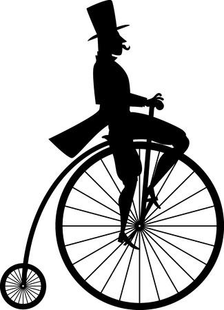 Nero silhouette di un signore su un annata bicicletta Penny-quattrino
