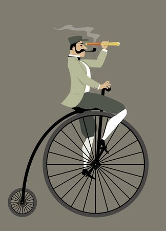 century: Victorian gentleman with a pipe and a telescope riding a penny-farthing bicycle