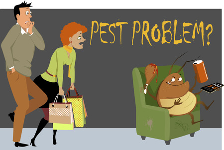 Shocked couple caught a giant cockroach sitting in a chair in their house, eating, drinking and watching TV, as a metaphor for a pest problem