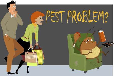 pareja comiendo: Pareja sorprendida captó una cucaracha gigante sentado en una silla en su casa, comiendo, bebiendo y viendo la televisión, como una metáfora de un problema de plagas