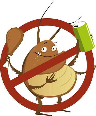 Funny cartoon cockroach with a soda drink and a drumstick in a stop sign