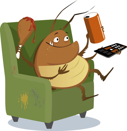 Funny cartoon cockroach sitting in a chair with a TV remote control, drink in a can and a drumstick
