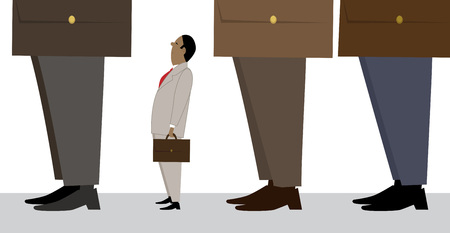 Tiny businessman standing in line, representing a small business