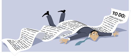Businessman knocked down by a endless to-do list Stock Illustratie