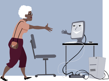 Computer lessons for seniors. Mature woman shaking hands with a friendly computer, Vector illustration