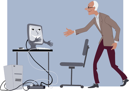 Elderly man shaking hands with a friendly computer, vector illustration