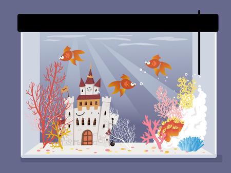 pez dorado: tanque de peces de dibujos animados con un castillo, corales y peces de colores, ilustración vectorial Vectores
