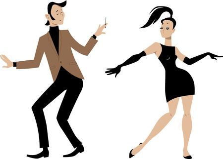 Mods. Stylish 1960s couple dancing, vector illustration Illustration