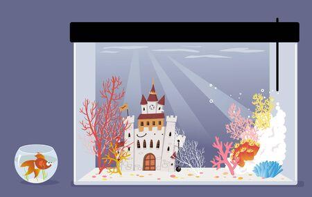 Goldfish in a small fish bowl looking at a big luxurious empty aquarium, dreaming of a bigger home, vector illustration, no transparencies