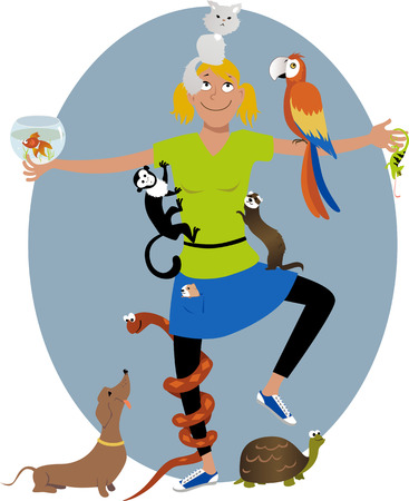 Smiling young woman surrounded with different pet animals, vector illustration, no transparencies