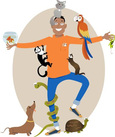 sitter: Smiling young man surrounded with different pet animals, vector illustration, no transparencies