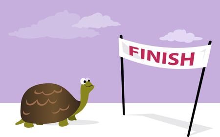 Slow, but sure. Cartoon tortoise at the finish line, vector illustration, no transparencies 일러스트