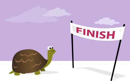 Lento pero seguro. tortuga de dibujos animados en la línea de meta, ilustración vectorial, no transparencias