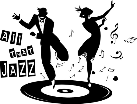 Black vector silhouette of a couple dressed in 1920s fashion dancing the Charleston on a record, no white objects